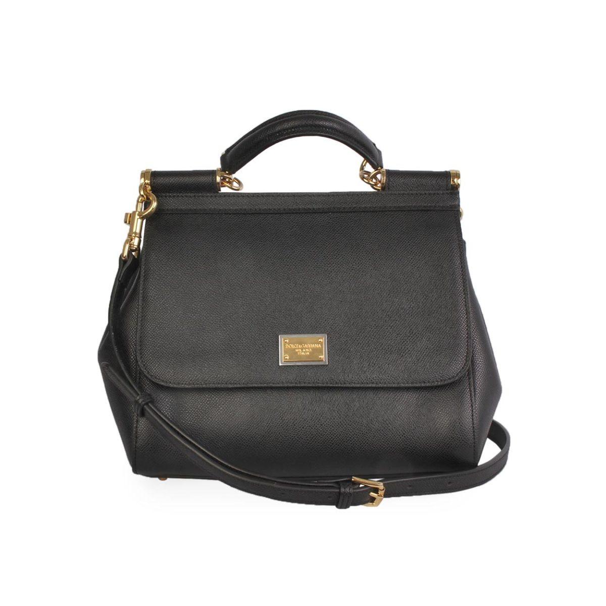 4b6f366ad2 DOLCE & GABBANA Dauphine Leather Sicily Medium Bag Black | Luxity