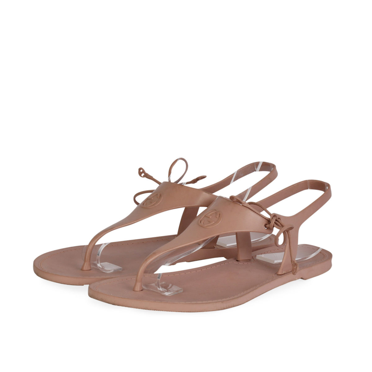 43614052e GUCCI Katina Bio-Plastic Rubber Thong Sandals Rose Blush - S  35 ...