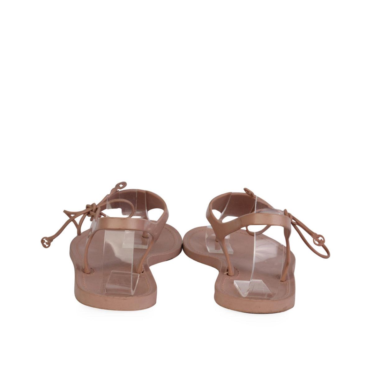 Gucci Katina Bio Plastic Rubber Thong Sandals Rose Blush