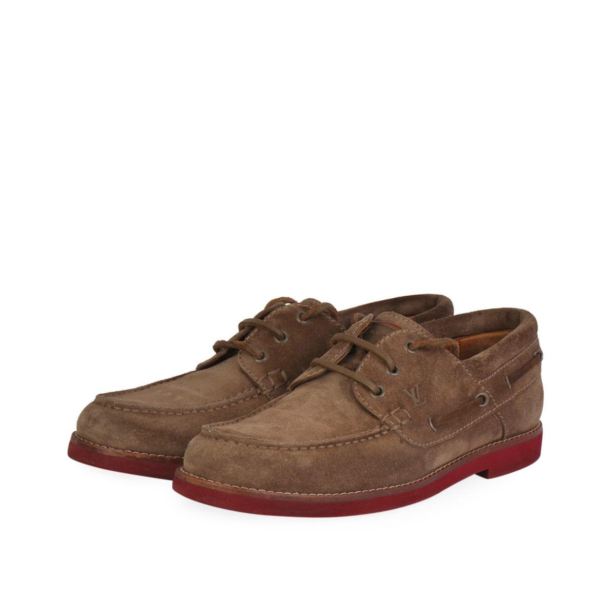 366da00b63be LOUIS VUITTON Suede Men s Boat Sneakers Brown - S  40.5 (7)