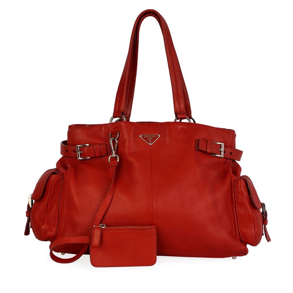 d66ecb4412b01c PRADA Pebbled Leather Side Pockets Shoulder Bag Orange | Luxity