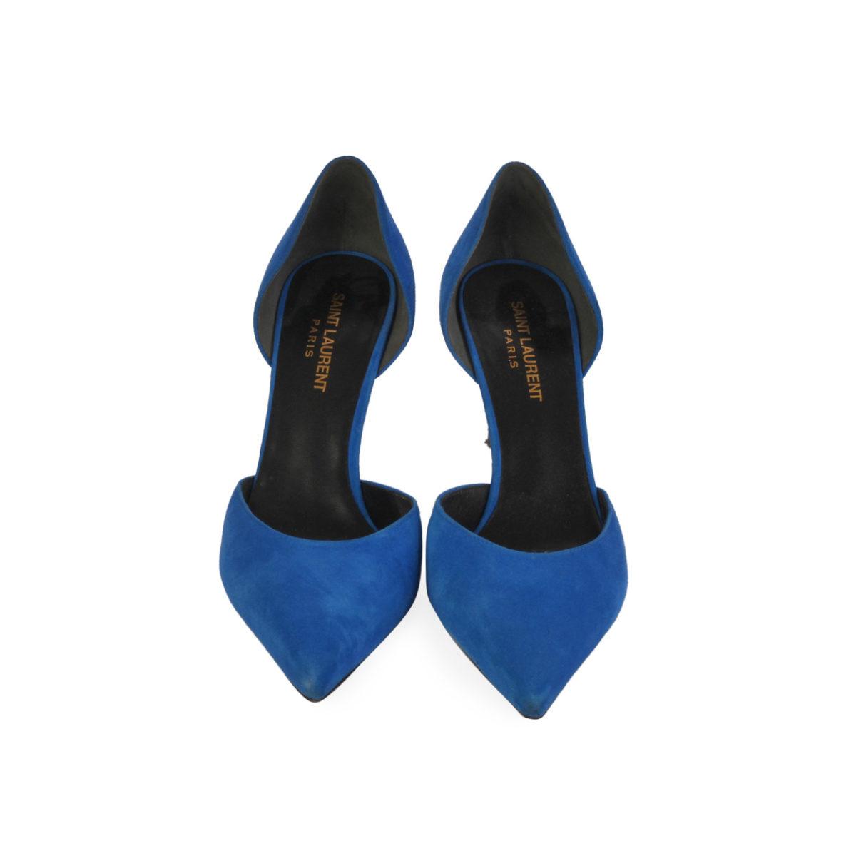 3fd2fd3c7a4 SAINT LAURENT Suede D'orsay Paris Pumps Blue - S: 39 (6)   Luxity