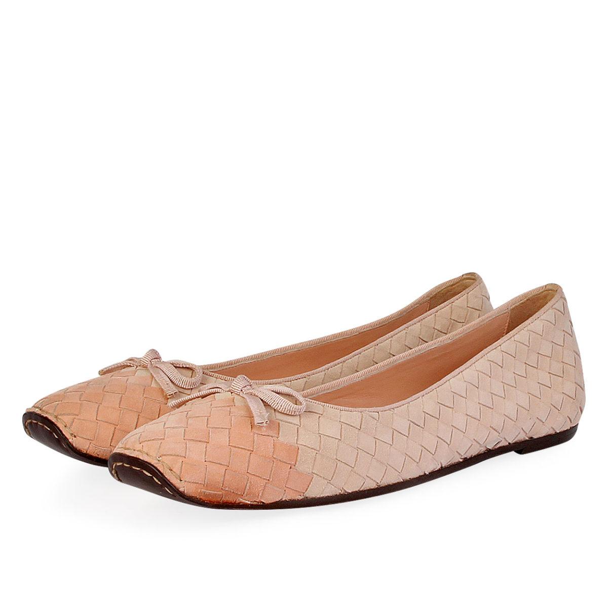 9807074b6 BOTTEGA VENETA Woven Suede Ballet Flats Blush Pink - S: 40.5 (7 ...