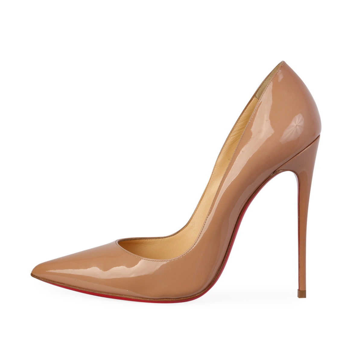 best cheap b3a0a 219a1 CHRISTIAN LOUBOUTIN Patent Leather So Kate Pumps Nude - S: 38.5 (5.5)