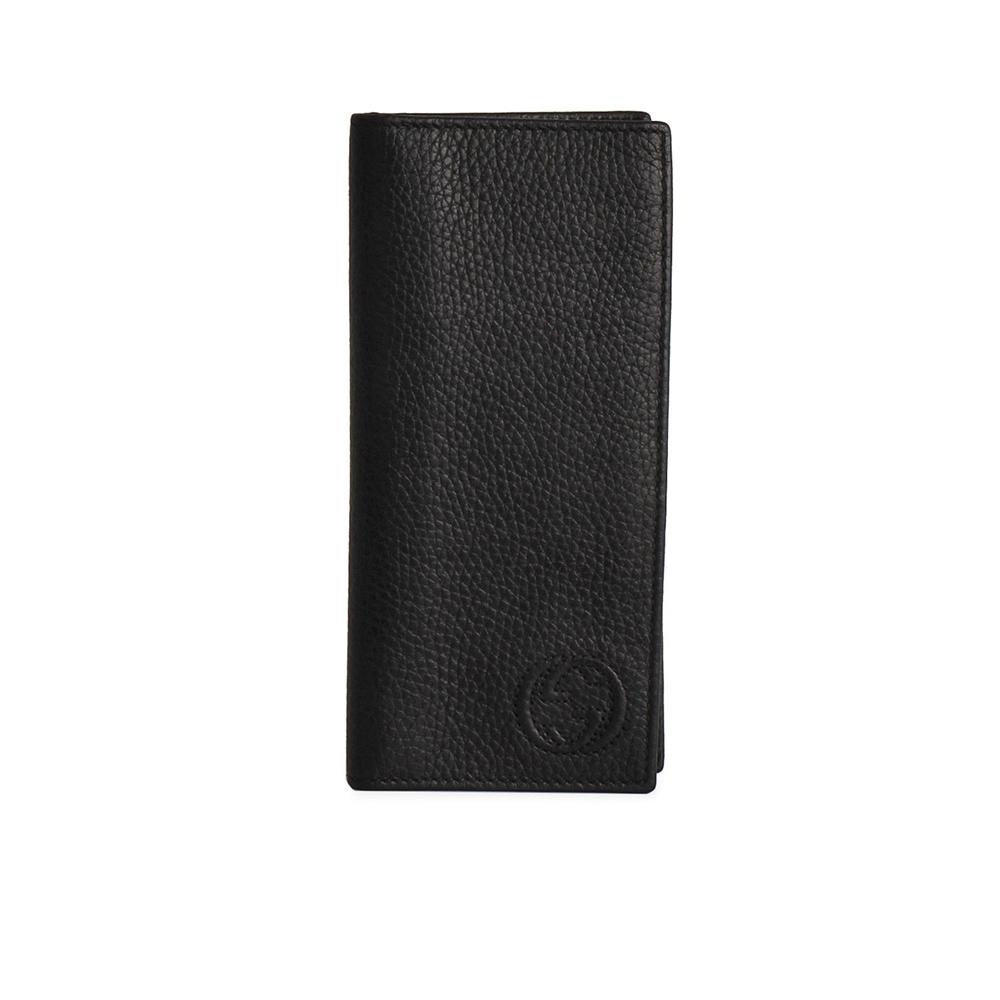 6aeece5e2cd GUCCI Cowhide Leather Men s Long Wallet Black