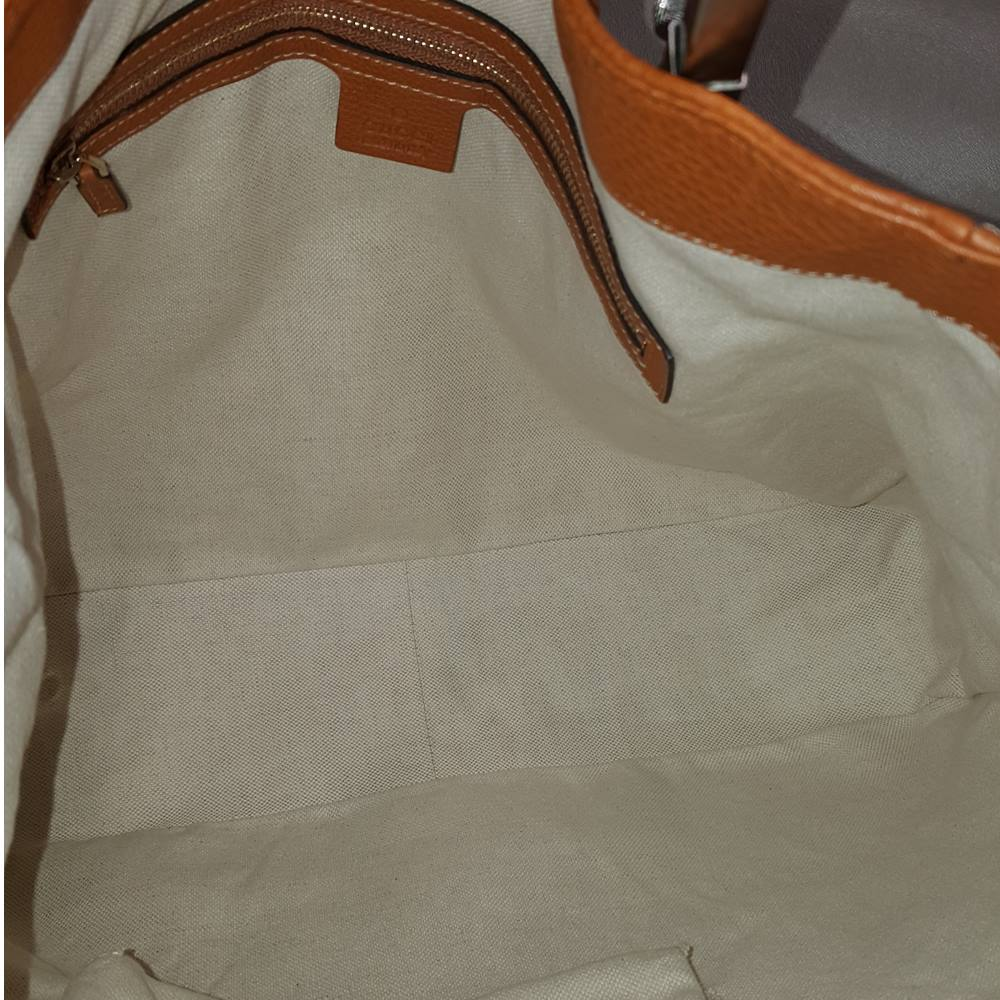 280efb069b4 GUCCI Leather Heritage Web Striped Hobo Tan