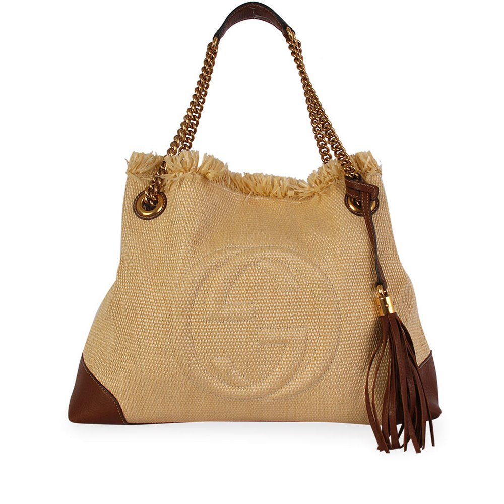 23bfd0b1abc33a GUCCI Leather and Raffia Soho Chain Tote Beige/Brown | Luxity
