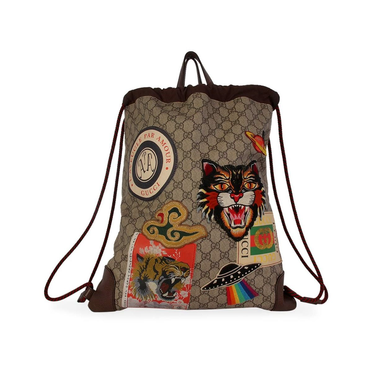 f413cbed88c6 GUCCI Soft GG Supreme Courrier Drawstring Backpack