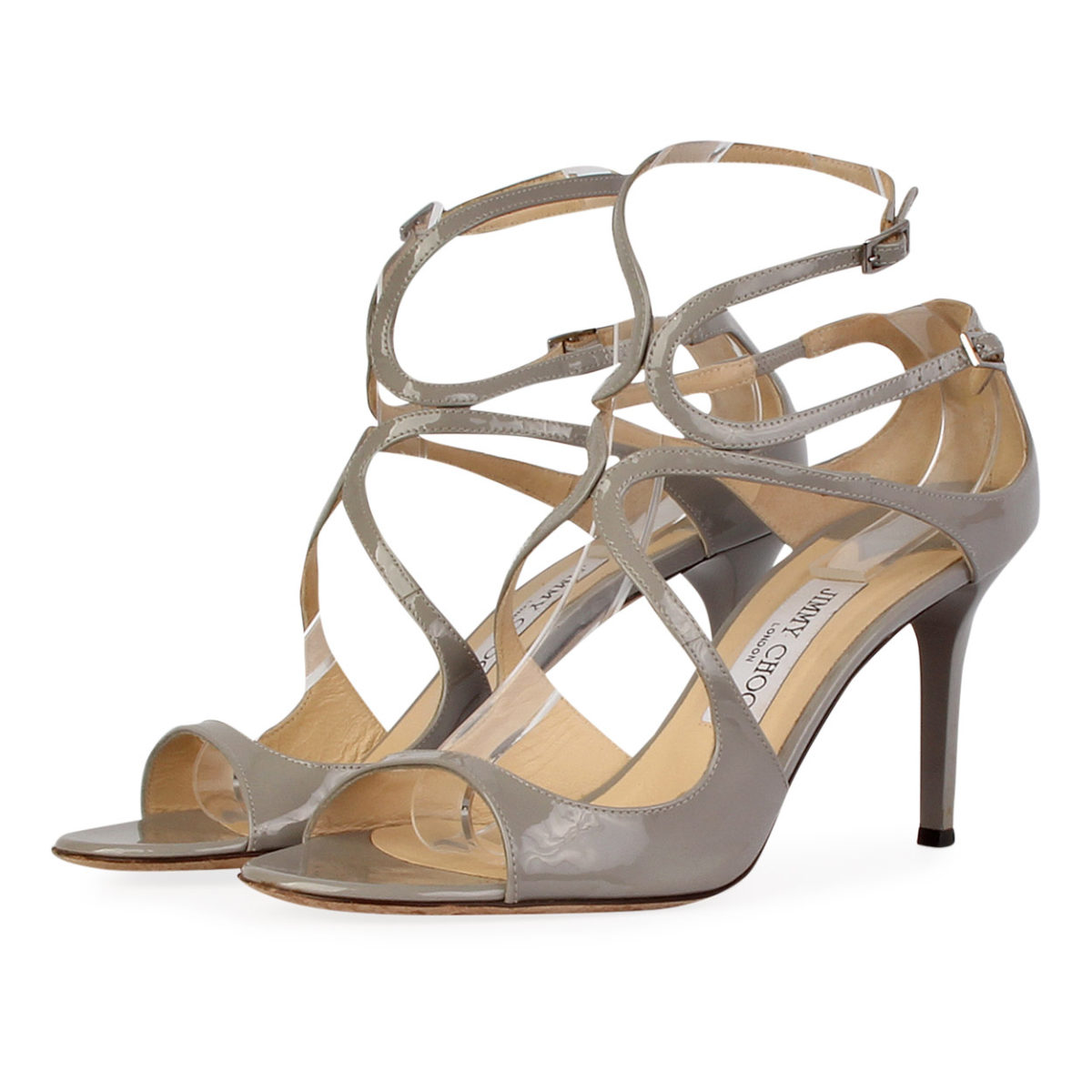 79e5a63577b2 JIMMY CHOO Patent Leather Lance Sandals Grey – S  40 (6.5)