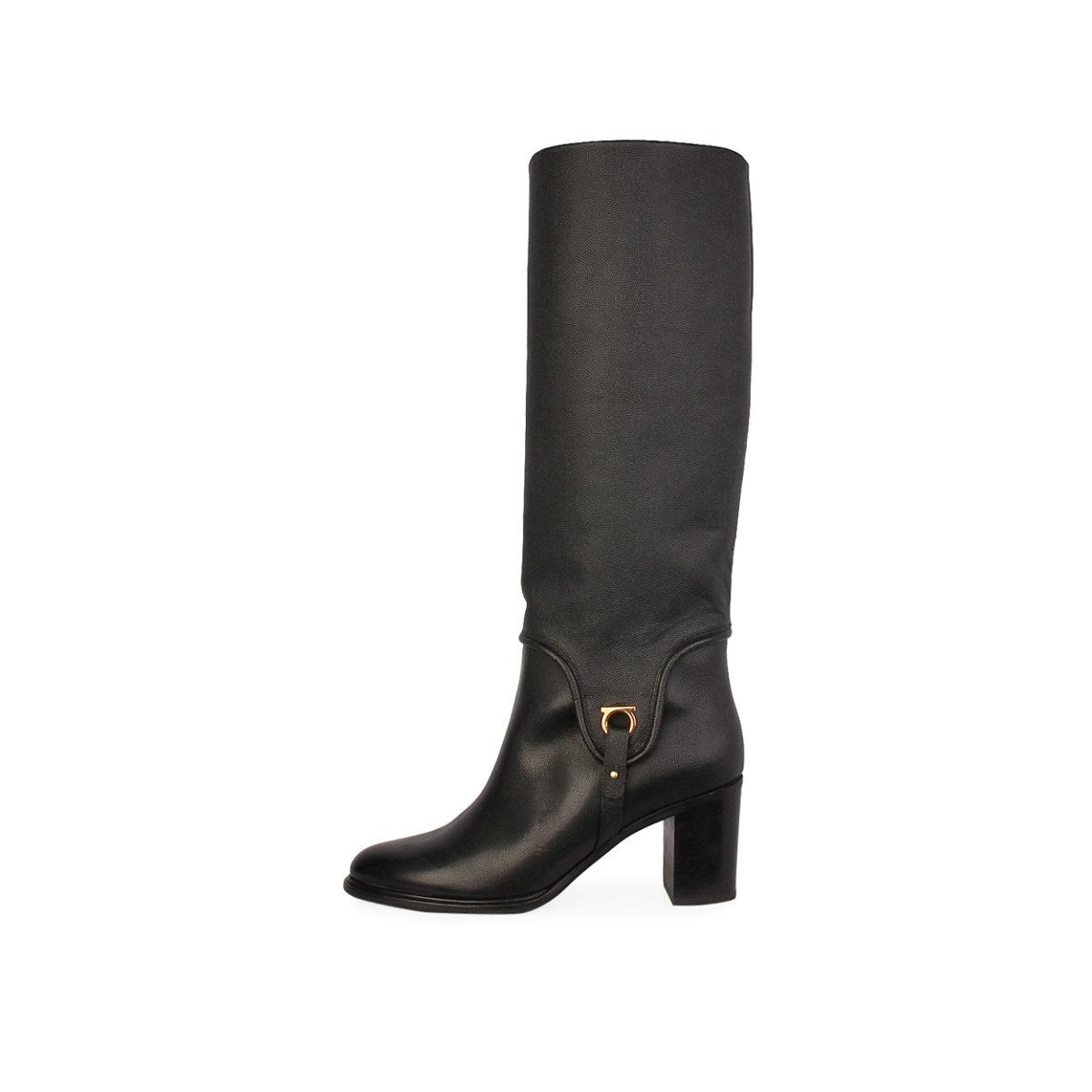 d16de4338c8d SALVATORE FERRAGAMO Pebbled Leather Flavius Block Heel Boots Black ...