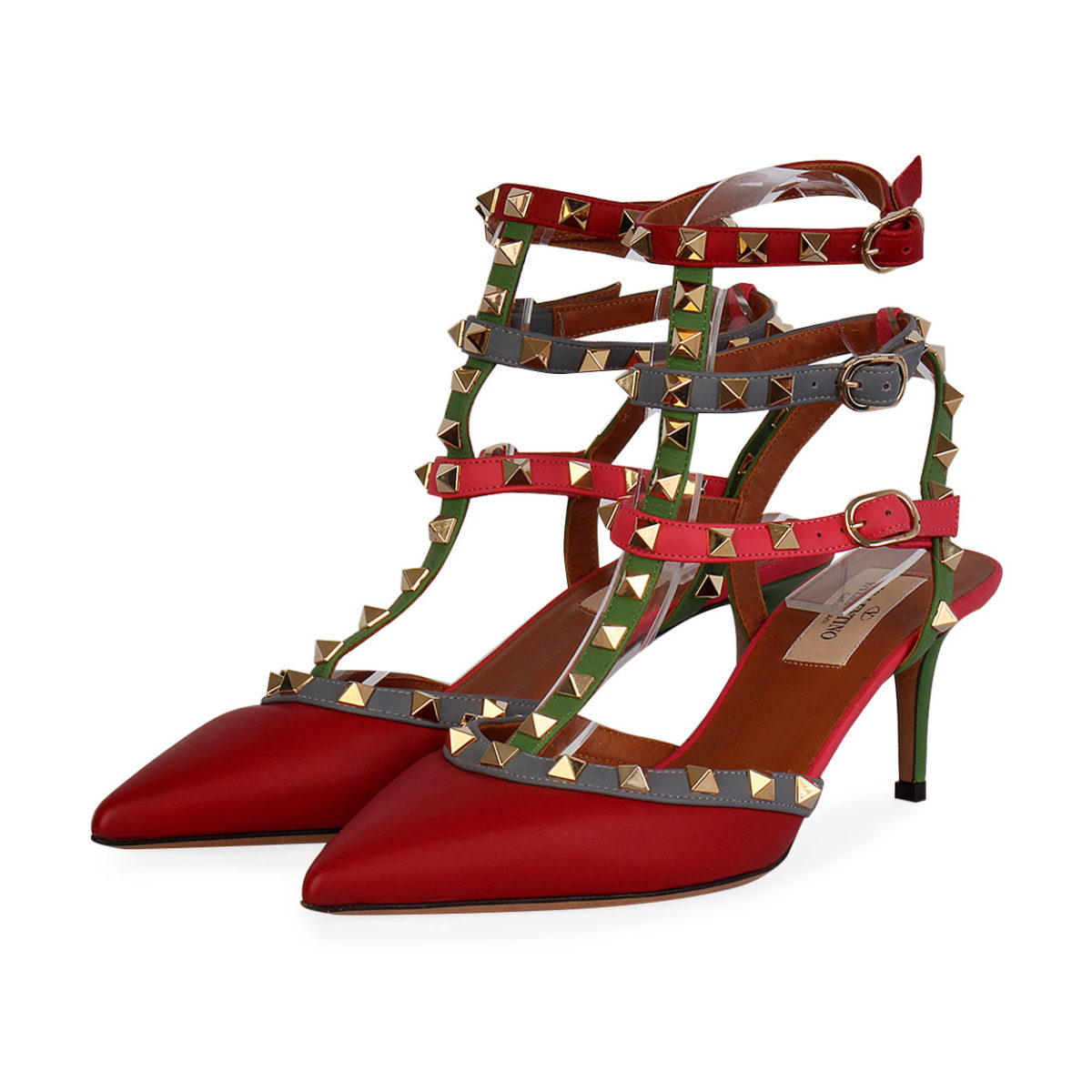 42dc4ad2402 VALENTINO Pebbled Leather Rockstud T-Strap Kitten Heel Pumps Red - S: 38  (5) - NEW