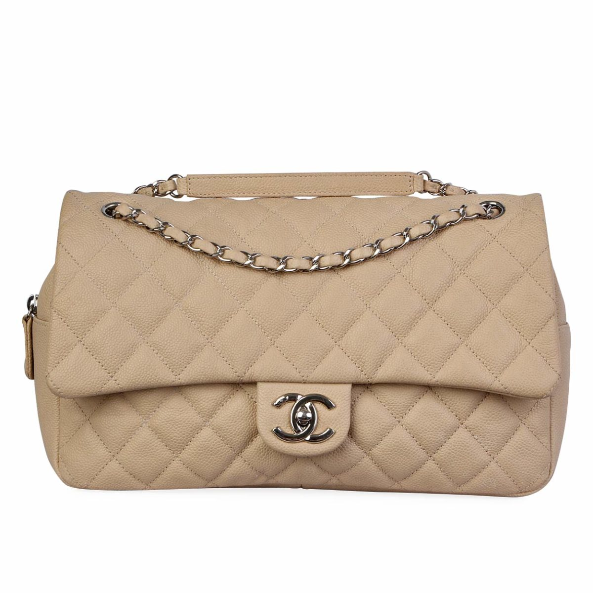 4eef181422f7 CHANEL Quilted Caviar Jumbo Easy Flap Bag Beige