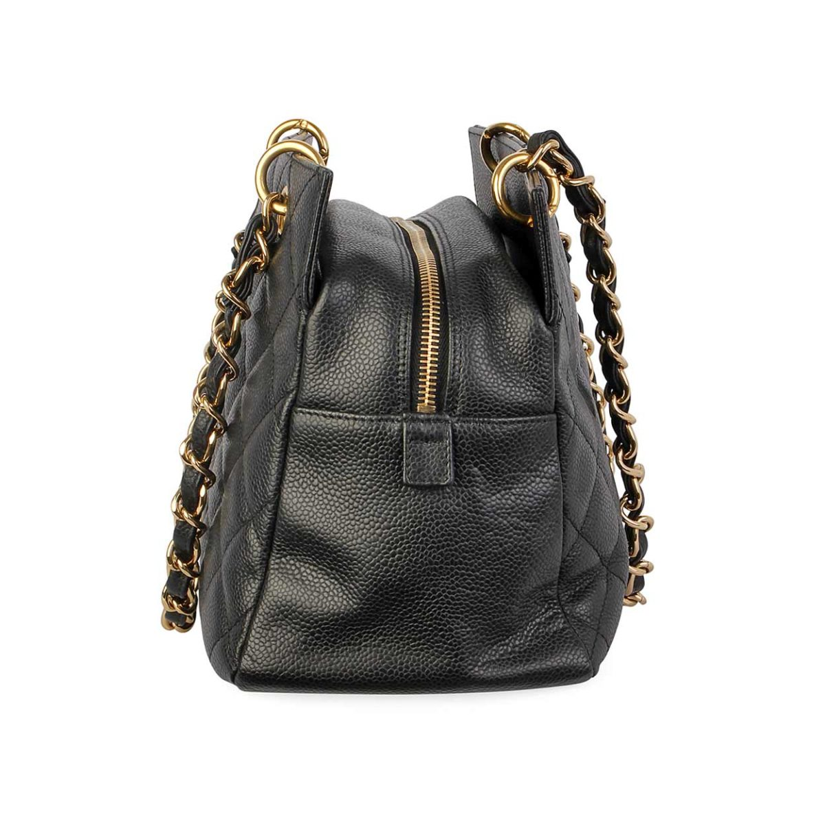 60213bc38ed2 CHANEL Quilted Cavier Leather Petite Timeless Tote Black