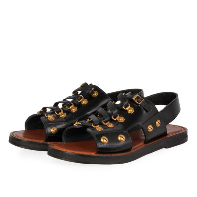 df8879a826a CHRISTIAN DIOR Leather Wildior Flat Sandals Black – S  37 (4)