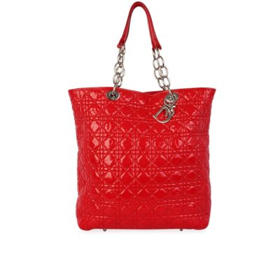 CHRISTIAN DIOR Patent Leather Quilted Cannage Large Tote Red 7fe57aa8c6e43