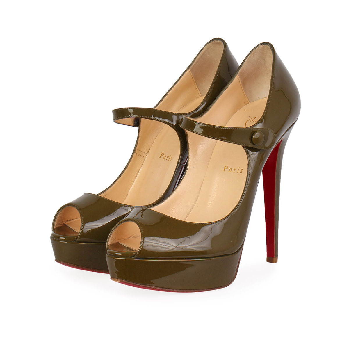 fa1f8034571 CHRISTIAN LOUBOUTIN Patent Leather Bana Mary Jane Pumps Green - S ...