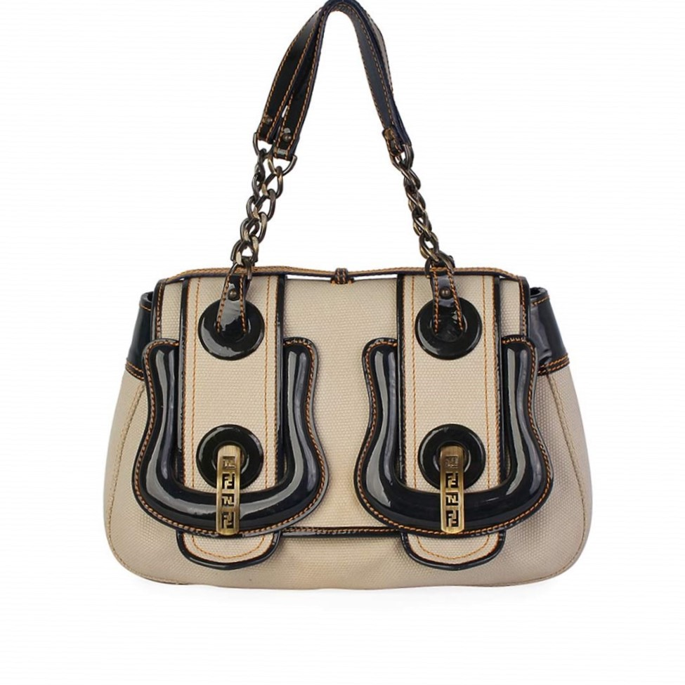 1bd052fbc0 FENDI Canvas and Patent Leather B Bag Beige/Navy | Luxity