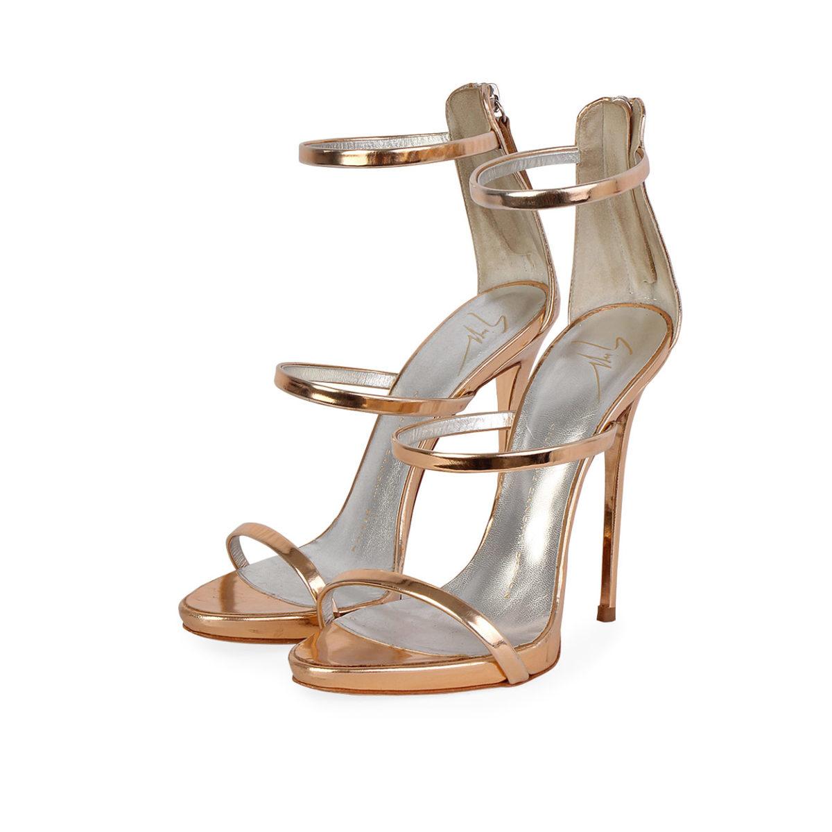 419ef57b3 GIUSEPPE ZANOTTI Metallic Leather Harmony Sandals Gold - S  37 (4 ...