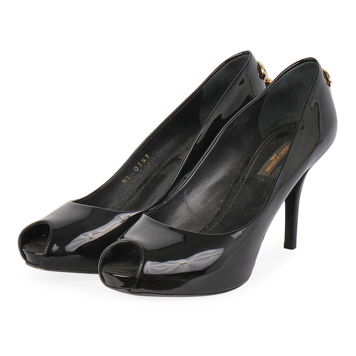 9bdd689c69d5 LOUIS VUITTON Patent Leather Oh-Really Peep Toe Pumps Black - S  38 ...