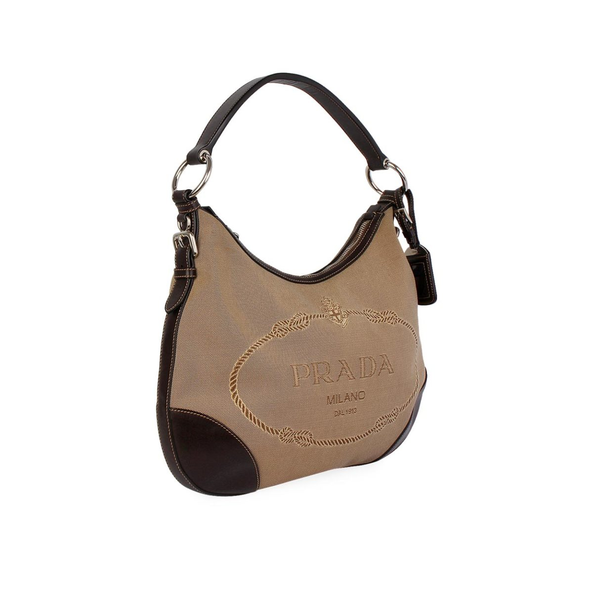 c4d8dd78d0 PRADA Jacquard Logo Shoulder Bag Brown