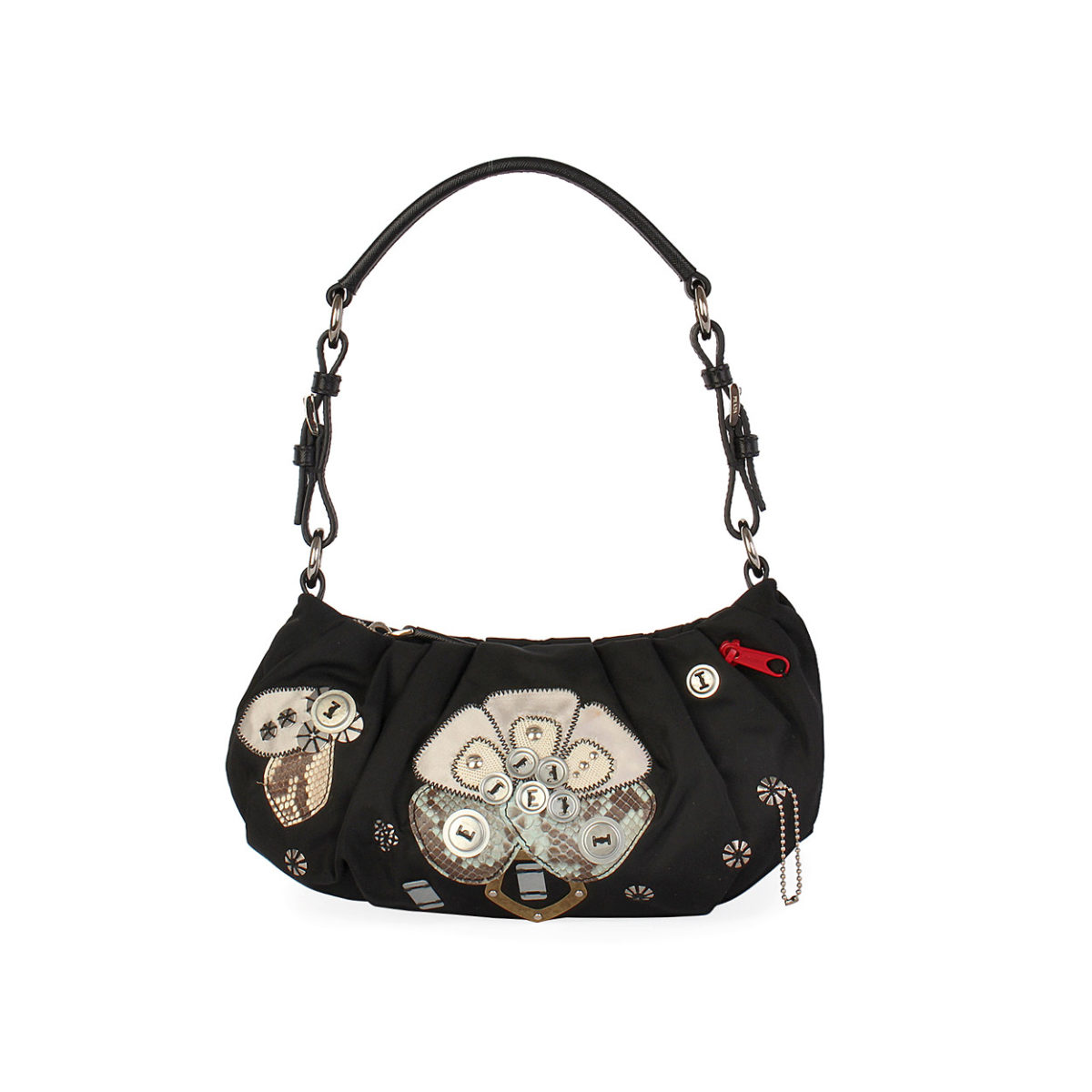 17820d6dd0ef ireland prada nylon leather shoulder bag 5070b b4d45  shopping prada nylon  tessuto flower embroidered shoulder bag black 26dc0 1a085