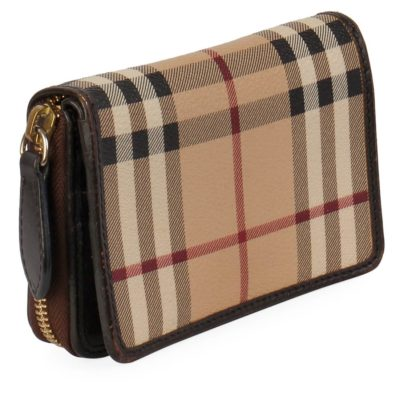 bbf09c949d59 BURBERRY Haymarket Check Compact Wallet Brown