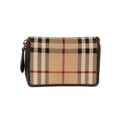 ab1f06d14e4d BURBERRY Haymarket Check Compact Wallet Brown