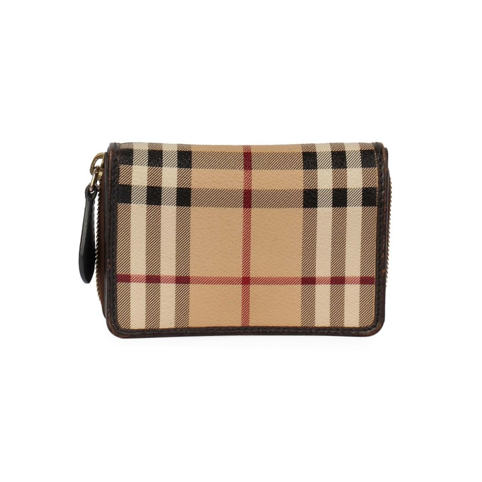 7bfafef02647 BURBERRY Haymarket Check Compact Wallet Brown