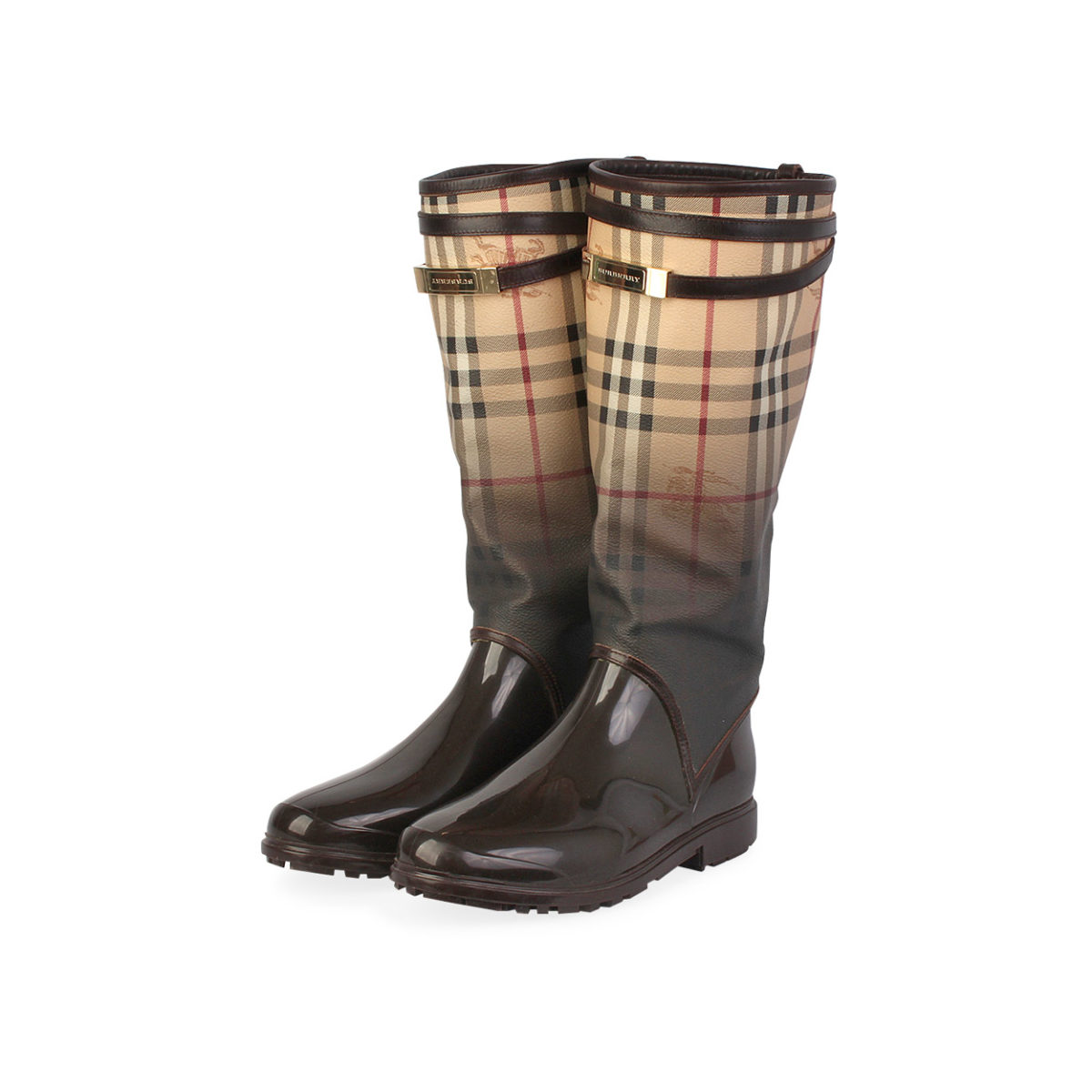 735c369031cea BURBERRY Rubber Check Rain Boots Brown Ombre - S: 38 (5) | Luxity
