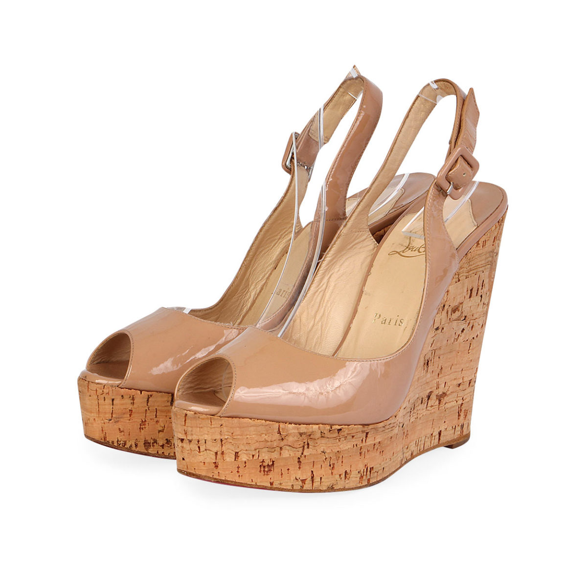 quality design a5a21 fe38b CHRISTIAN LOUBOUTIN Patent Slingback Wedges Nude - S: 40 (6.5)