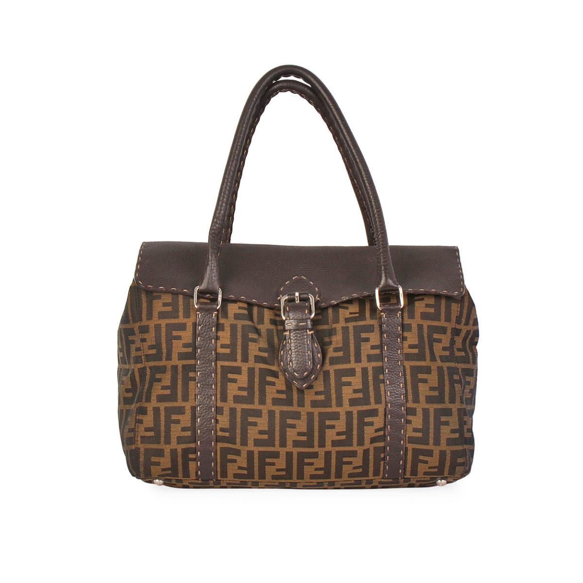 2951d6814b FENDI Vintage Zucca and Leather Shoulder Bag Brown