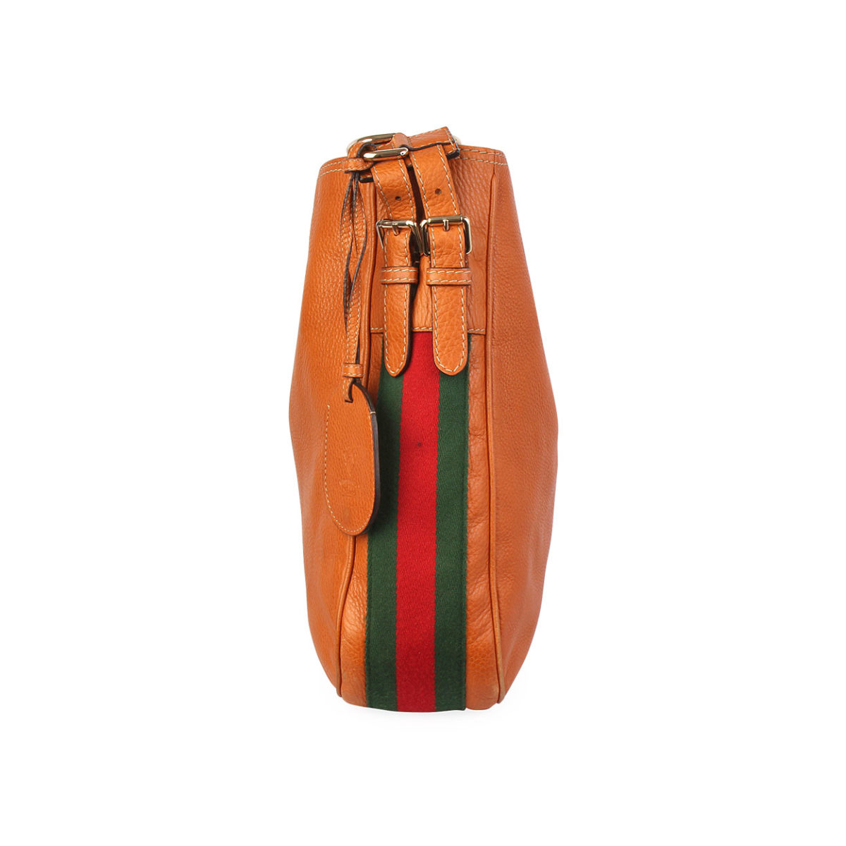 d202dfa46a8 GUCCI Leather Heritage Web Hobo Tan