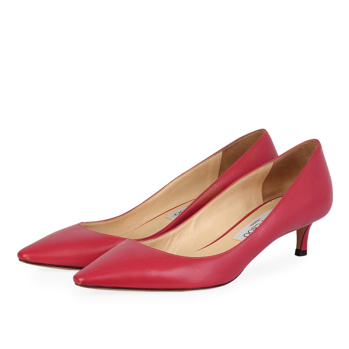 JIMMY CHOO Leather Kitten Heel Pumps Pink - S  38.5 (5.5)