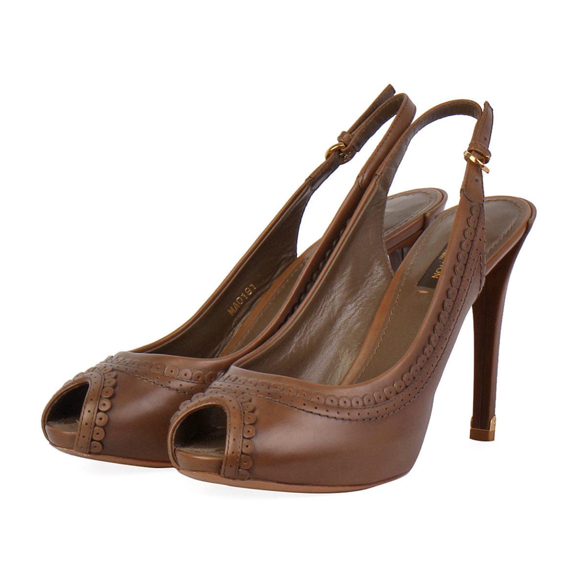 9ea48b9be9a LOUIS VUITTON Leather Peep Toe Slingback Pumps Brown - S  38 (5 ...