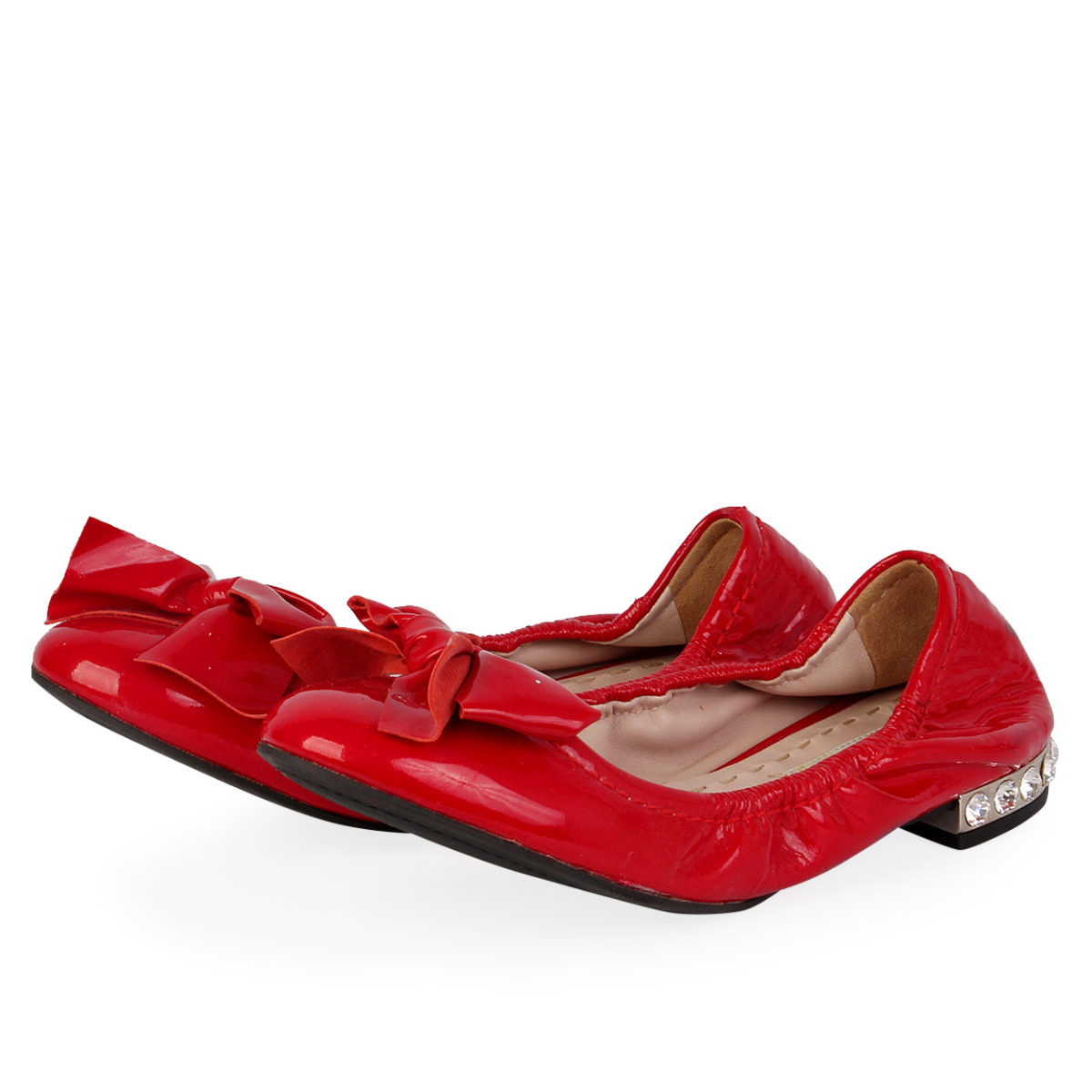 6d455b00a7b40 MIU MIU Patent Leather Bow Crystals Ballerinas Red - S: 36.5 (3.5 ...