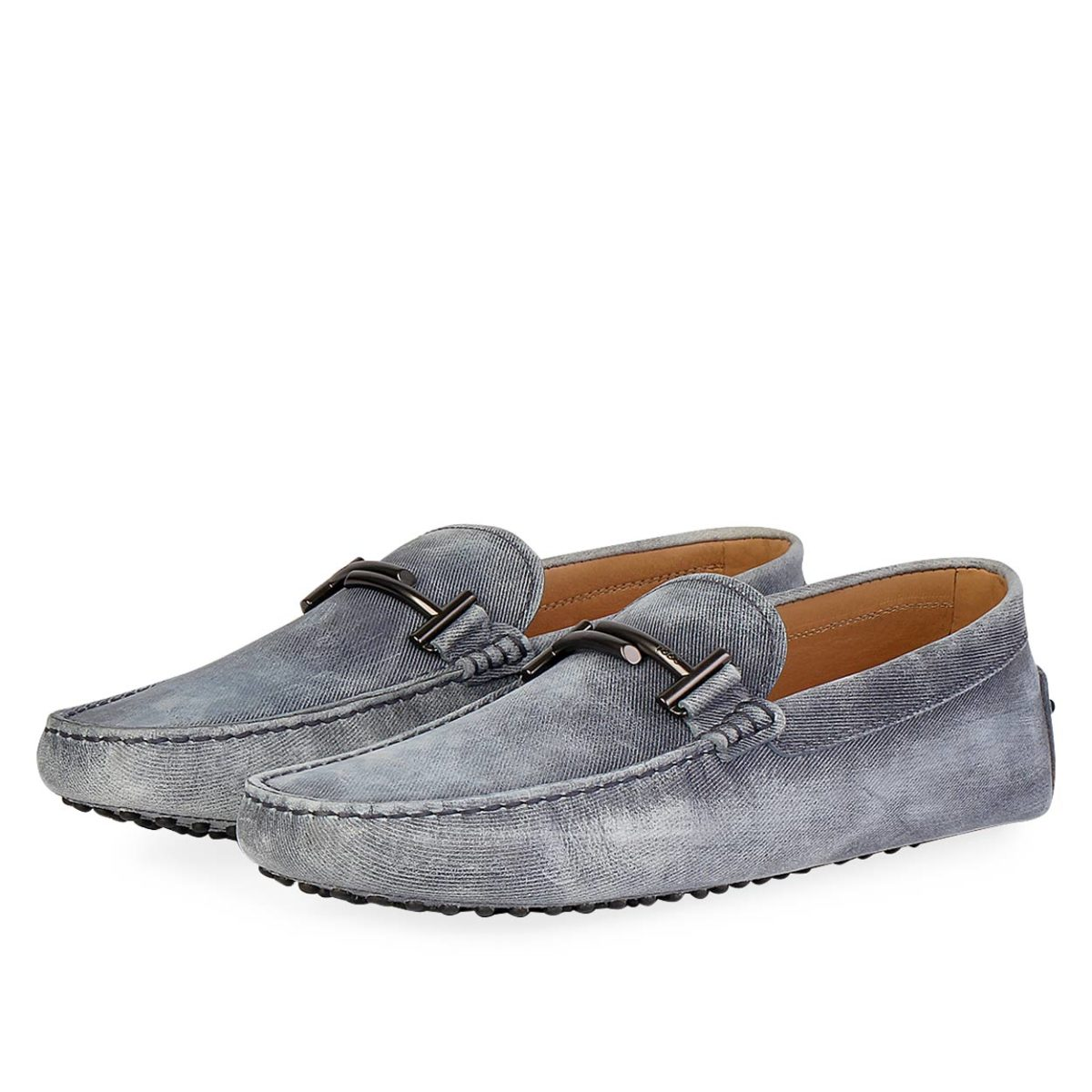 9ac12c1aa33b1 TOD'S Men's Double T City Gommino Loafers Denim - S: 42.5 (8.5) | Luxity