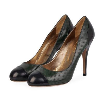 a4b9b1227c10 VALENTINO Leather Round Toe Pumps Green Black – S  41 (7)