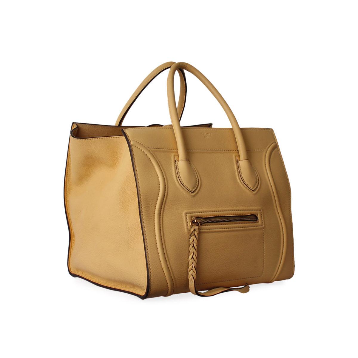 475ba86369 CELINE Calfskin Medium Phantom Luggage Tote Yellow