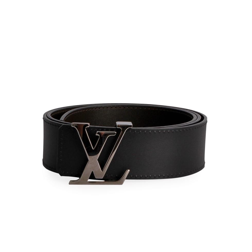 8010a852dc9d LOUIS VUITTON Leather Reversible Initials Belt Black Brown - S  95 ...