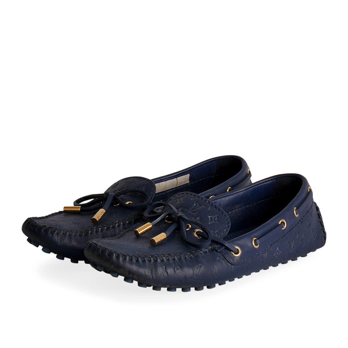 9698700a2f51 LOUIS VUITTON Monogram Embossed Gloria Loafers Blue - S  37 (4)