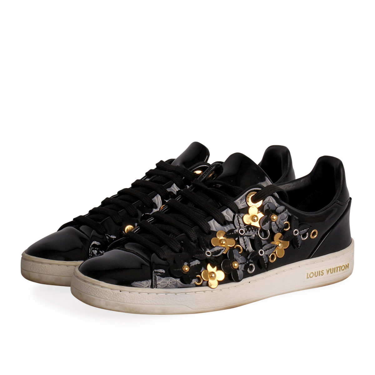 a62f415e0e99 LOUIS VUITTON Patent Blossom Frontrow Sneakers Black - S  36 (3 ...