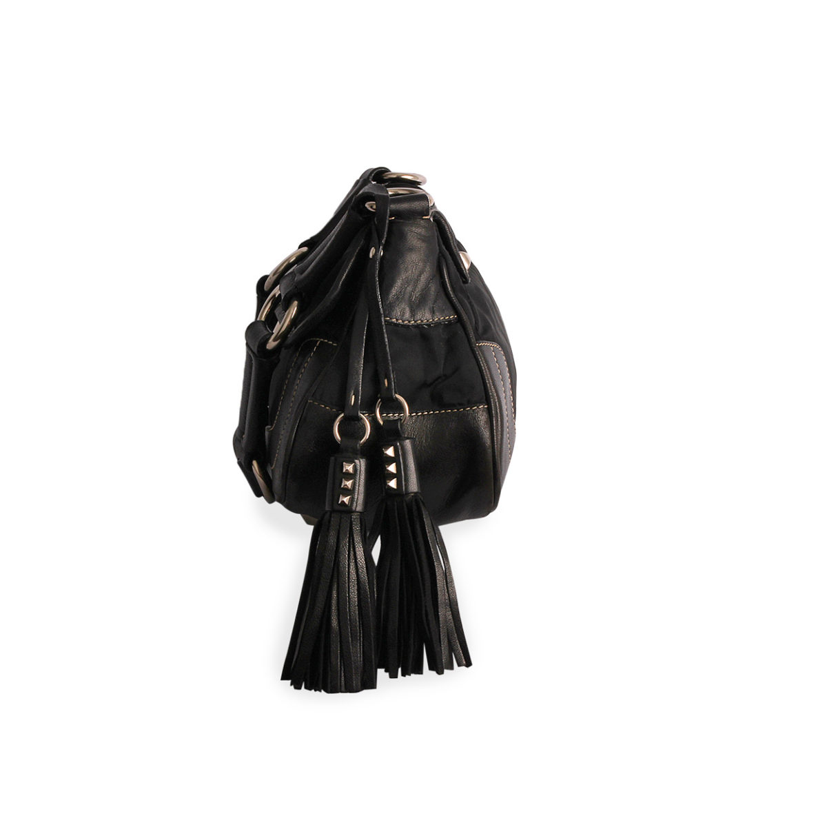 c21817a460 PRADA Nylon Tessuto Tassel Shoulder Bag Black | Luxity