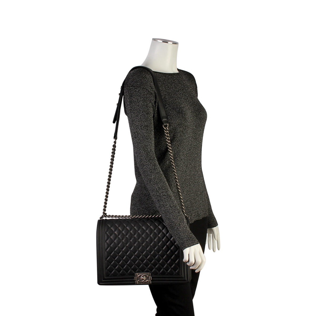 eda7237ef2ed CHANEL Quilted Lambskin Large Boy Bag Black | Luxity