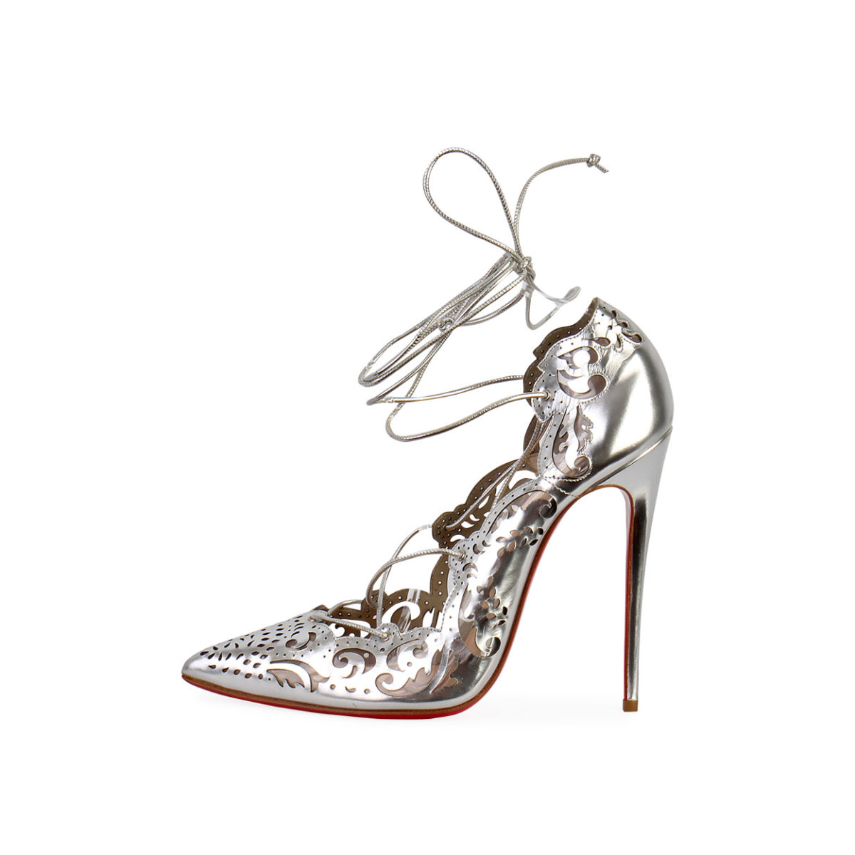 Christian Louboutin Leather Laser Cut Impera 120 Pumps Silver S 38 5 New