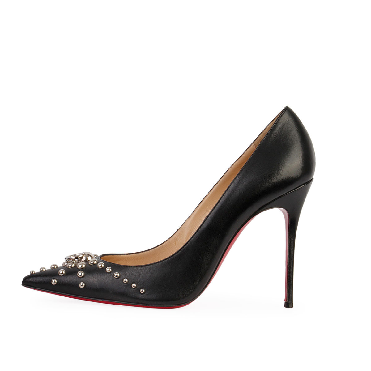 info for 9fe4f 3d707 CHRISTIAN LOUBOUTIN Leather Studded Door Knock Pumps Black - S: 39 (6)