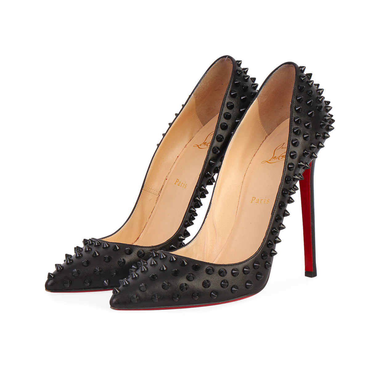 9495561153e CHRISTIAN LOUBOUTIN Nappa Pigalle Spikes 120 Pumps Black - S: 41 (7.5)
