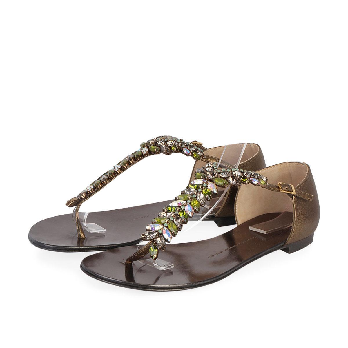 d25b3f4bb893 GIUSEPPE ZANOTTI Metallic Leather Jewel Embellished Flat Sandals - S ...
