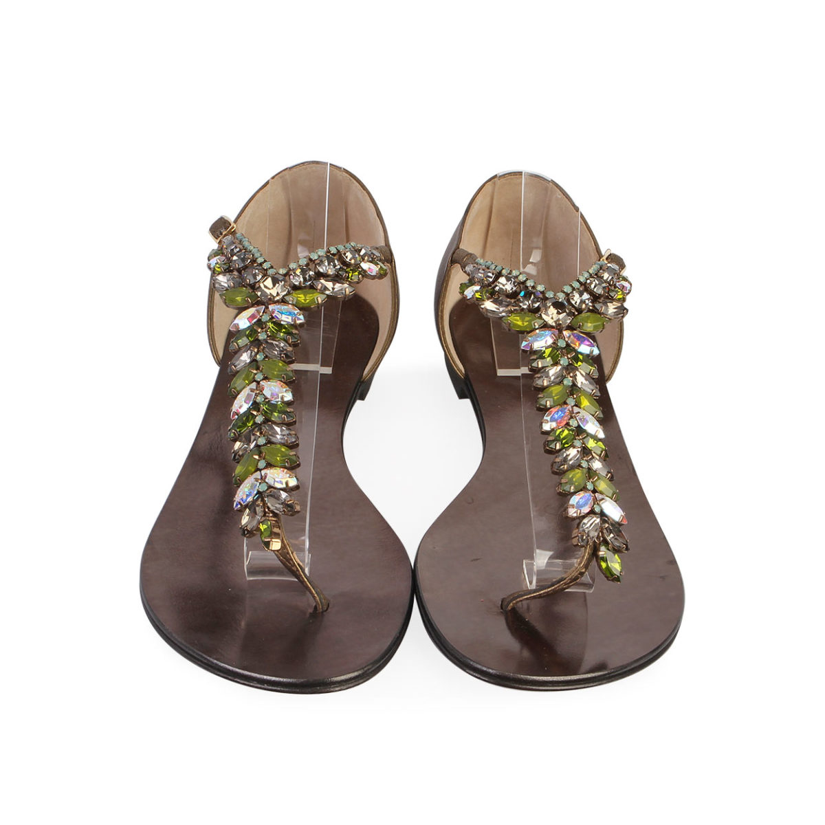 e77d85b80bf8 GIUSEPPE ZANOTTI Metallic Leather Jewel Embellished Flat Sandals - S ...