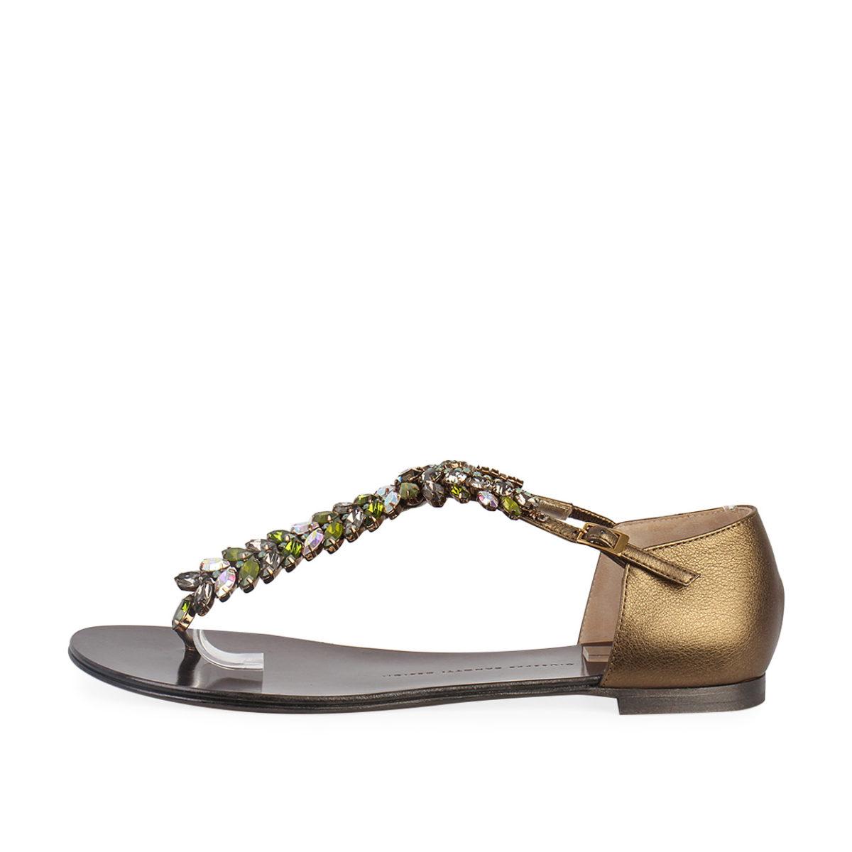 1a43b827cba31 GIUSEPPE ZANOTTI Metallic Leather Jewel Embellished Flat Sandals - S ...