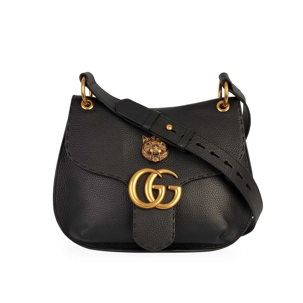 bfb57b60255d GUCCI Leather GG Tiger Marmont Shoulder Bag Black | Luxity